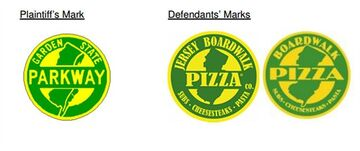This image taken from a lawsuit filed in federal court by the NJ Turnpike Authority Wednesday, July 23, 2014 shows logos being used by a Florida company that the turnpike authority has taken to court. At left is the trademark of the Garden State Parkway, which is suing the Jersey Boardwalk Pizza Co. over its logos. (AP Photo)