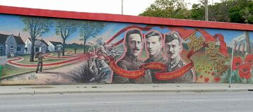 The mural at the corner of Ellice Avenue and Valour Road features the three soldiers from Pine Street (now known as Valour Road) — Cpl. Leo Clarke, Sgt.-Maj. Frederick William Hall, and Lt. Robert Shanklin — who were awarded the Victoria Cross.