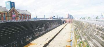 The Titanic once rested in this giant dry-dock at Belfast harbour. 'She was fine when she left here,' a tour guide says.