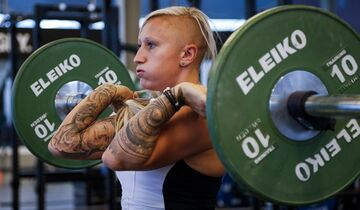 Bobsled driver Kaillie Humphries works out at the Winter Sport Institute in Calgary, Monday, Sept. 8, 2014. THE CANADIAN PRESS/Jeff McIntosh