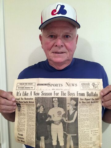 SUPPLIED</p><p>Former Winnipeg Whips pitcher Ernie McAnally with 1970 Winnipeg Free Press story featuring a photo of himself.</p>