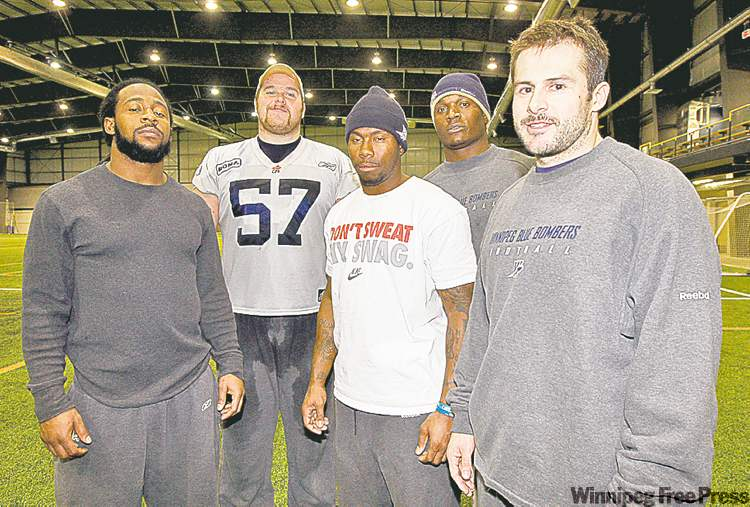 Winnipeg�s CFL all-stars, from left to right, are defensive back Jonathan Hefney, offensive lineman Brendon LaBatte, defensive back Jovon Johnson, defensive end Odell Willis and safety Ian Logan.