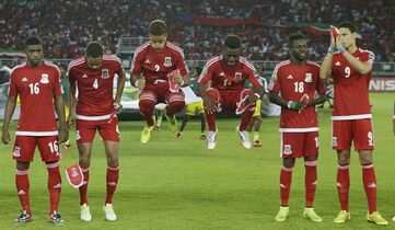 Equatorial Guinea's players warm up for their African Cup of Nations Group A soccer match against Gabon in Bata, Equatorial Guinea, Sunday, Jan. 25, 2015. (AP Photo/Themba Hadebe)
