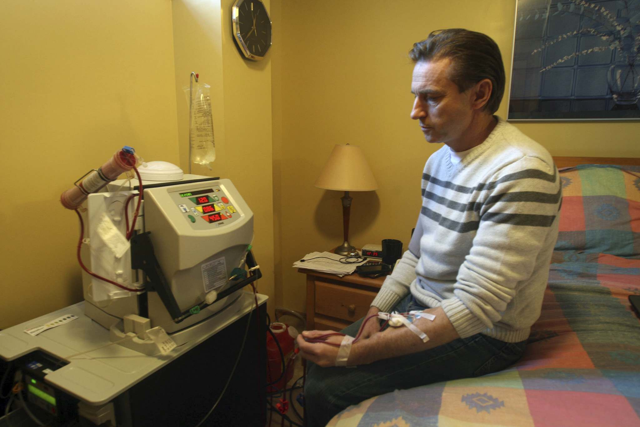 Photos by JOE BRYKSA / WINNIPEG FREE PRESS</p><p>Winnipegger Blair Waldvogel, 50, suffers from kidney failure and has been on home dialysis for more than five years. New technology could soon offer him new freedom.</p>