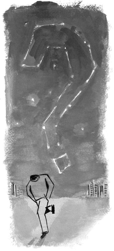 300 dpi Gabi Campanario color illustration of constellation of night stars forming question mark over man, walking away from city with his hands in pockets and head looking down. Can be used with stories about doubting divinity. The Seattle Times 2008<p>