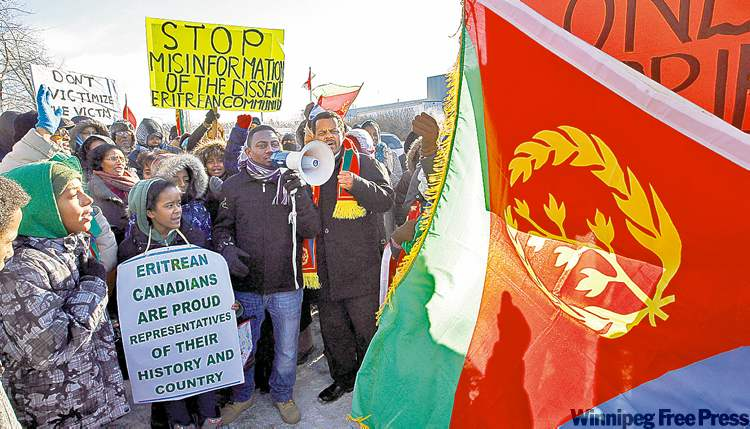 KEN GIGLIOTTI / WINNIPEG FREE PRESSEritrean protesters at the Free Press building Thursday claim stories in the paper falsely portray them as tied to terrorists.
