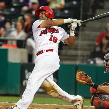 Luis Alen takes a swing against the Fargo-Moorhead Redhawks at Shaw Park.