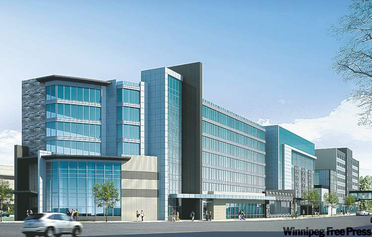 An artist's rendering of the Grand hotel at the airport . The future office tower is to the right of the hotel. The current Four Points by Sheraton Hotel is at the far right of the development.