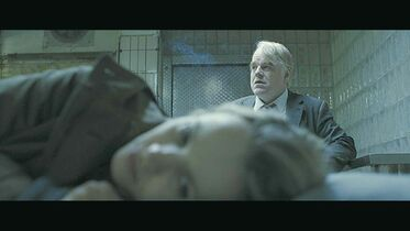 Actors Philip Seymour Hoffman and Rachel McAdams are shown in a scene from