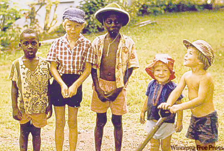 Tony Rogge (second from left) with brothers and friends in 1973 in Ibaden, Nigeria.