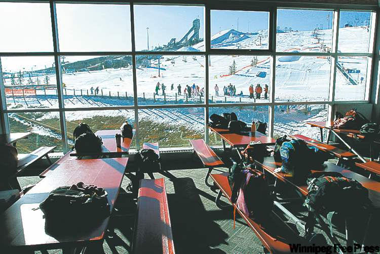 Backpacks save table spots at Canada Olympic Park, which offers good value for beginners.