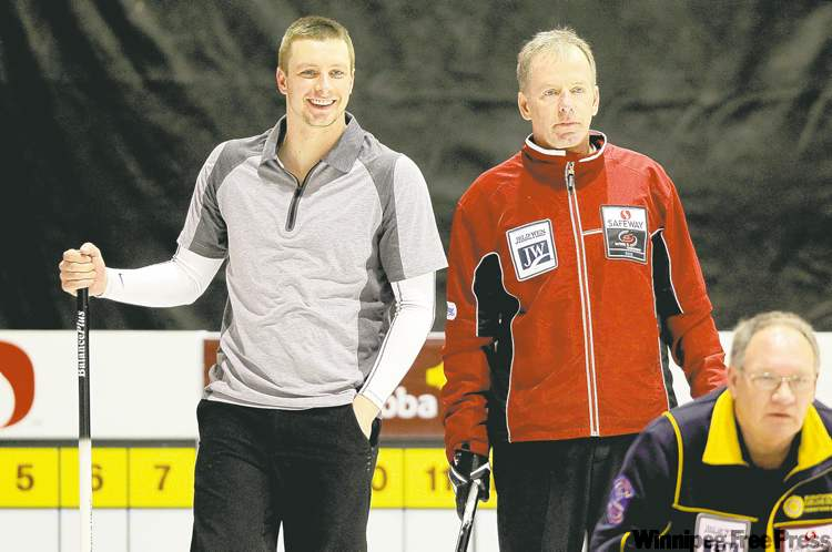 BORIS MINKEVICH / WINNIPEG FREE PRESS  Vic Peters (right) and his son Daley were winners in their opening game Wednesday afternoon, beating Rae Hainstock's team from Burntwood 7-5.