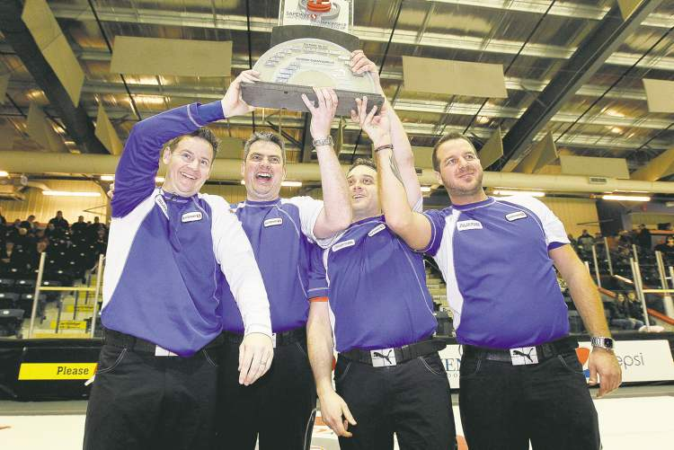 The 2012 Manitoba men's curling champs: From left, skip Rob Fowler, third Allan Lyburn, second Richard Daneault, lead Derek Samagalski. The Brandon rink had no peer in Dauphin.