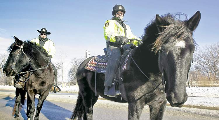 TREVOR HAGAN / WINNIPEG FREE PRESS archivesThe mounted police patrol could become a thing of the past in Winnipeg. The department is currently looking at ways to cut costs.