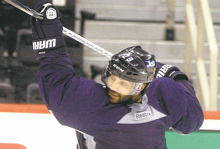 KEN GIGLIOTTI /  WINNIPEG FREE PRESSJohnny Oduya practises with the Winnipeg Jets on Monday, prior to the game against the Edmonton Oilers at the MTS Centre. He was a Chicago Blackhawk soon after.