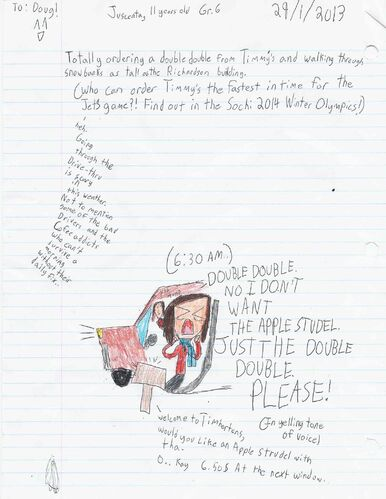 Juscenta, 11, imagines a race to Tim Hortons for a double-double on the double. -