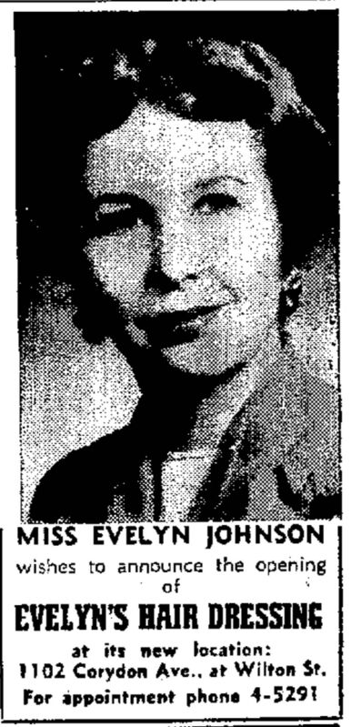 Evelyn&#39;s Hair Dressing opened at 1102 Corydon Avenue in December of 1955. The location still houses a salon today. </p>
