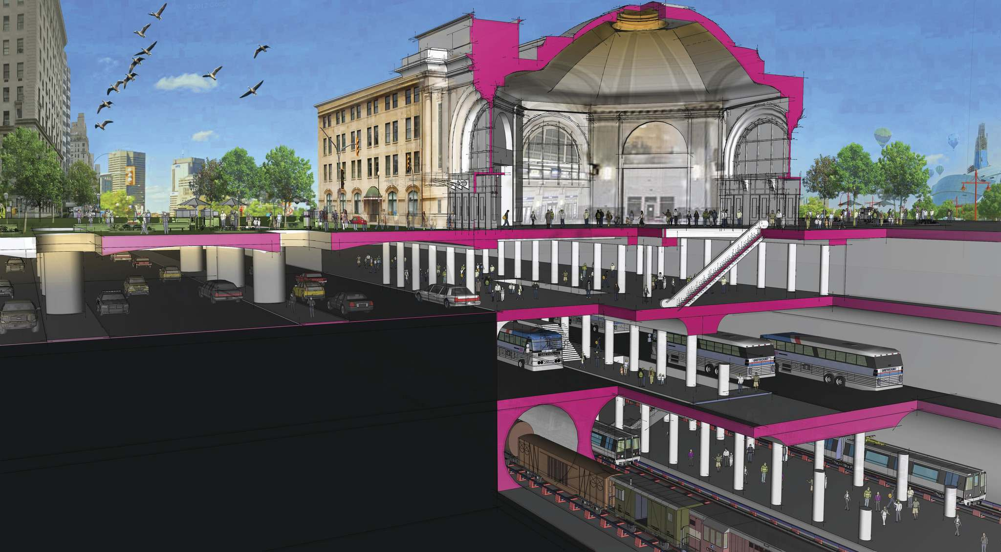 Architecture49</p><p>Main Street and the CN Railway create physical barriers that prevent downtown from fully embracing The Forks and discourage pedestrian flow.</p></p>
