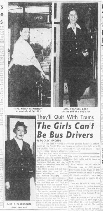 WINNIPEG TRIBUNE ARCHIVES</p><p>A story in the Winnipeg Tribune about female streetcar operators. Left to right, Helen McKinnon, Frances Daly and Evelyn Farbrother operated streetcars during the Second World War and stayed on until the service was discontinued in 1955.</p>