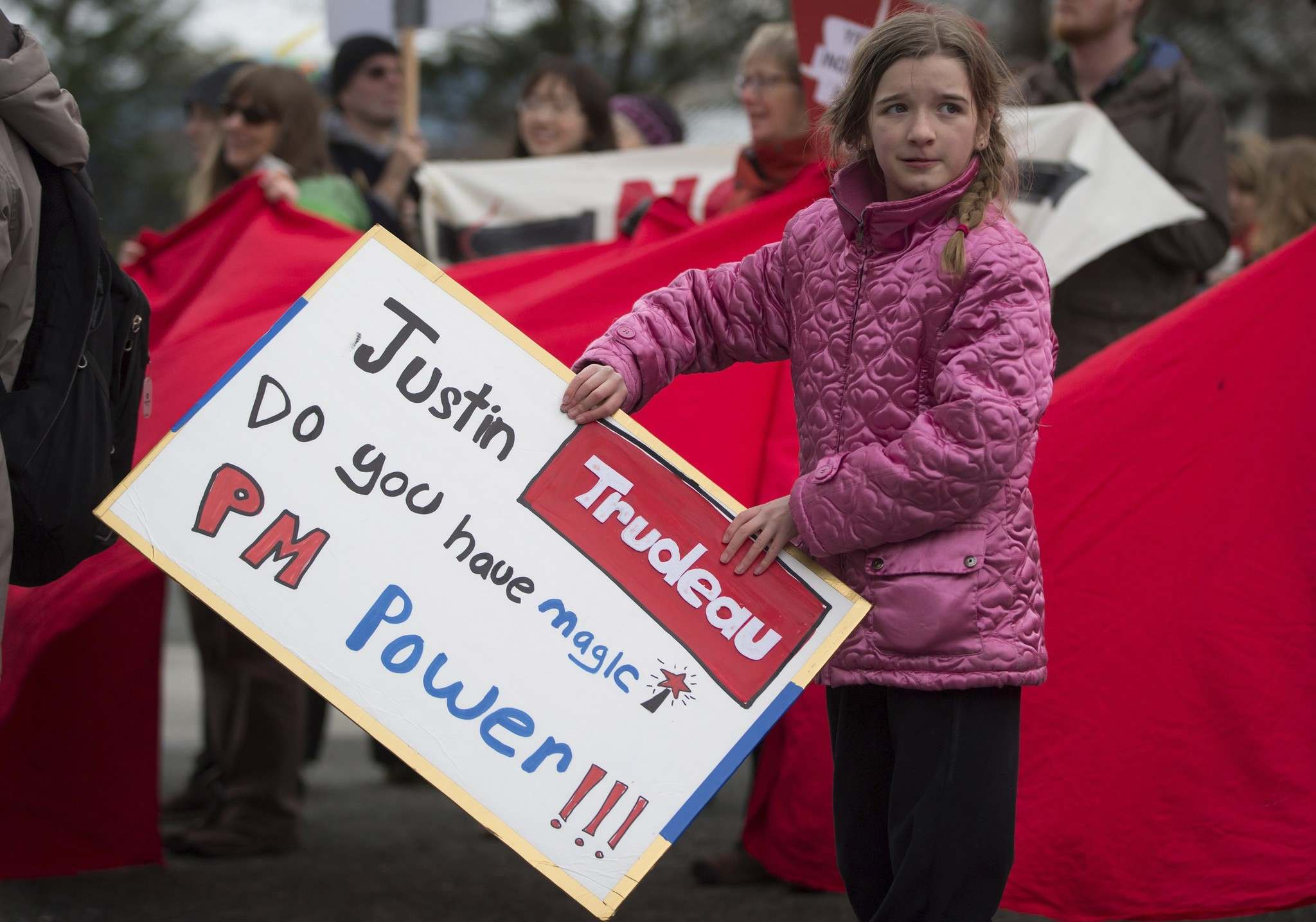 DARRYL DYCK / THE CANADIAN PRESS FILES</p><p>A young girl has a message for Prime Minister Justin Trudeau during a protest outside National Energy Board hearings on the proposed Trans Mountain pipeline expansion in Burnaby, B.C.</p>