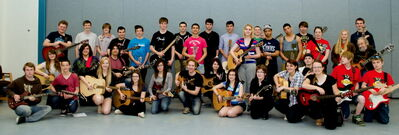 The 33 participating students in College Pierre-Elliott-Trudeau's inaugural Shredfest, held May 6, are shown with instructors Derek Gottfried of Harlequin, Keith MacPherson of Keith and Renee, and Darryl Torchia of Mercy, Mercy.