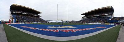 Panorama created from multiple images of Winnipeg Blue Bombers versus Montreal Alouettes during CFL action in the final game at Canad Inns Stadium, Saturday.
