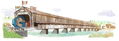 A Google doodle featuring the covered bridge in Hartland, N.B., is shown in this handout image. New Brunswick's famous Hartland Bridge now has a new honour - a Google doodle, which is featured as a search page icon on Google.ca to mark it's 111th anniversary on July 4th. THE CANADIAN PRESS/HO - Google