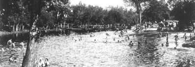 This photo of Dugards Beach on the Brokenhead  River is believed to be from the 1950s. Today, not a trace exists of the beach and the area is completely grown over.