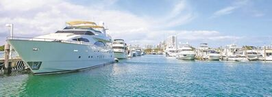 The Sunny Isles Marina on Miami's Intracoastal Waterway harbours luxurious yachts that cruise Biscayne Bay and the Atlantic Ocean.