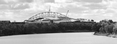 The new Investors Group Stadium viewed from across the Red River on River Road. This is a panoramic photograph that is made up of many photos that have been stitched together to create a long wide photo. The panorama image is not meant to capture a specific moment in time, as a conventional photograph does. It captures an environment over a few seconds. Elements were not added nor remove from a scene. May 29,  2012  BORIS MINKEVICH / WINNIPEG FREE PRESS