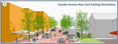 Angled parking behind Corydon Avenue buildings, as depicted in this rendering, is just an idea for now, the area's city councillor says.