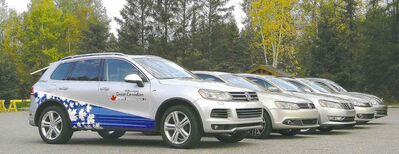 Lineup of vehicles on the 2013 Volkswagen Great Canadian TDI Clean Diesel Tour.