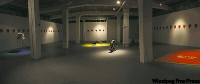 Panoramic view of Mary Anne Barkhouse's Urban Shaman exhibit, Game; below, Dominique Rey's cavalcade of  characters includes,  Shell Girl, Cowgirl, Florian and Dog Faced Man.