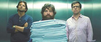 Bradley Cooper, from left, Zach Galifianakis and Ed Helms star in The Hangover Part III.