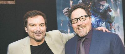 Shane Black (left) and Jon Favreau at Iron Man 3 premiere.