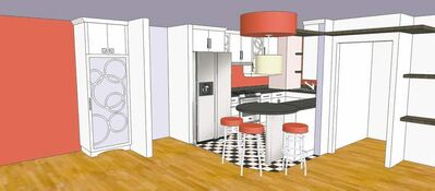 A drawing of original kitchen concept by Carrie Robson of S3 Interior Designs Inc.