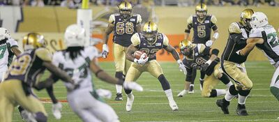 Winnipeg Blue Bombers RB Nic Grigsby had nowhere to run Thursday.