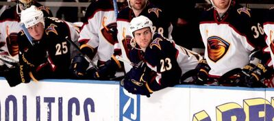 Jim Slater (23) and his Atlanta teammates could only watch as they were swept by the Rangers from the 2007 post-season.
