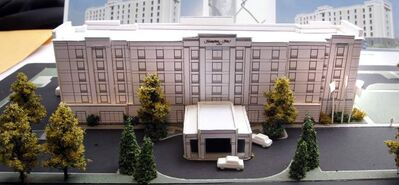A model of the $19-million, six-storey Hampton Inn Winnipeg Airport is unveiled Monday morning.