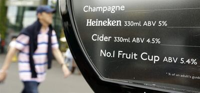 "Pimms, a popular English liqueur, is listed as ""No. 1 Fruit Cup"" on a drink menu at the All England Lawn Tennis Club at Wimbledon, in London, at the 2012 Summer Olympics, Wednesday, Aug. 1, 2012. Olympic branding regulations have restricted many familiar brand names from being shown in connection with the games. (AP Photo/Mark Humphrey)"