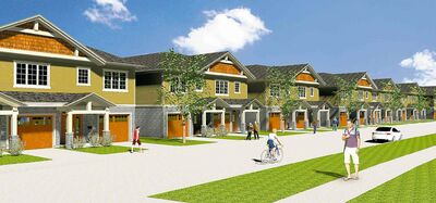 An artist's rendering of some of the two-storey-attached homes that Hilton Homes is building in Bridgwater Centre.