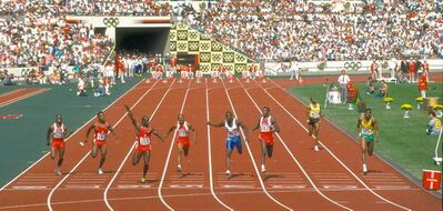 A scene from the film 9.79 shows the men's 100-metre final at the Summer Olympics in Seoul, South Korea, in 1988. Ben Johnson is third from left, Carl Lewis is third from right.