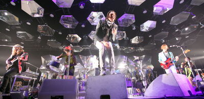 Arcade Fire vocalist Win Butler plays to the crowd at the MTS Centre Thursday evening.