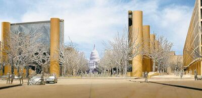 A view of the proposed Dwight D. Eisenhower Memorial; architech Frank Gehry�s design features a park-like square with open vistas of the Capitol bordered on three sides by large metal tapestries hanging from 10 stone columns. Illustrates EISENHOWER (category e). by Philip Kennicott (c) 2012, The Washington Post. Moved Tuesday, March 20, 2012. (MUST CREDIT: Courtesy of Gehry Partners.)