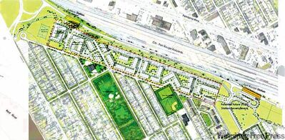 Artist's rendering of the Fort Rouge Yards project (in light green shaded area).
