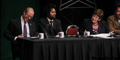 Sam Katz, Rav Gill, Judy Wasylycia-Leis and Brad Gross at Wednesday night debate.