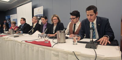 From right, mayoral candidates Brian Bowman, Michel Fillion, Paula Havixbeck, Robert-Falcon Ouellette, Gord Steeves, Michael Vogiatzakis, and Judy Wasylycia-Leis.