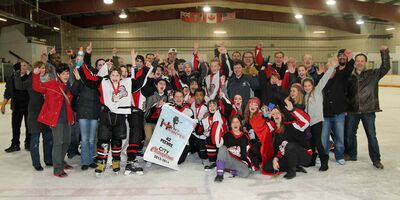 The Red River Panthers, 12A2 peewee division city champions, along with their parents, grandparents, siblings and friends.
