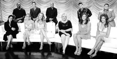 @None:Back row from left, NBA player Ron Artest, actor David Arquette, actor and Iraq War veteran J.R. Martinez, TV personality Rob Kardashian, activist Chaz Bono, seated from left, TV personalities Ricki Lake, Kristin Cavallari, singer Chynna Phillips, TV host Nancy Grace, Soccer player Hope Solo and Italian personality Elisabetta Canalis.