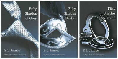 "FILE- This file combo made of book cover images provided by Vintage Books shows the ""Fifty Shades of Grey"" trilogy by best-selling author E L James. EL James' erotic trilogy was easily the year's biggest hit, selling more than 35 million copies in the U.S. alone and topping bestseller lists for months. Rival publishers hurried to sign up similar books and debates started over who should star in the planned film version. Through James' books and how she wrote them, the general public was educated in the worlds of romance/erotica, start-up publishing and ""fan fiction."" (AP Photo/Vintage Books, File)"